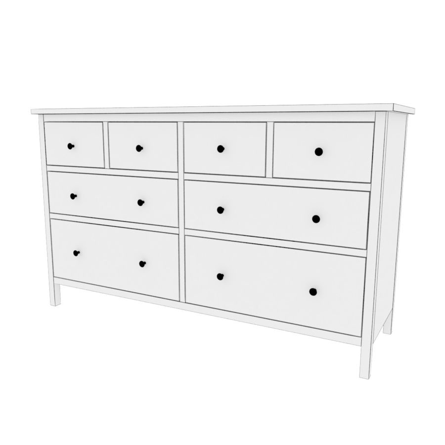 Ikea Hemnes 8 drawer chest royalty-free 3d model - Preview no. 4