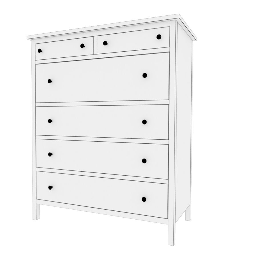 Ikea Hemnes 6 cajones royalty-free modelo 3d - Preview no. 4