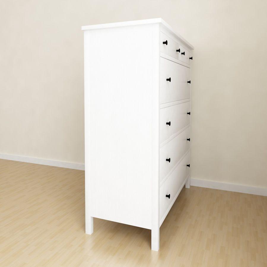 Ikea Hemnes 6 cajones royalty-free modelo 3d - Preview no. 2