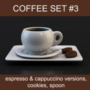 Coffee set #3: cups espresso & cappuccino, cookies, spoon (high poly models, ready for your coffeetable) 3d model