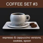 Kaffeset nr 3: koppar espresso & cappuccino, kakor, sked (hög poly-modeller, redo för din kaffebryggare) 3d model