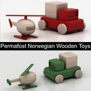 Permafrost Norwegian Wooden Toys: helicopter & car (pickup) 3d model