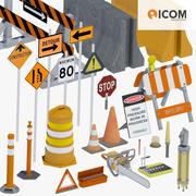 Road Construction Tools and Equipment Bundle 3d model