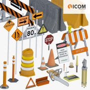Road Construction Tools and Equipment Bundle 3d model