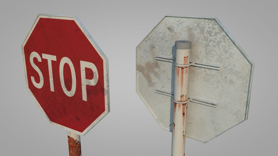 STOP sign royalty-free 3d model - Preview no. 3