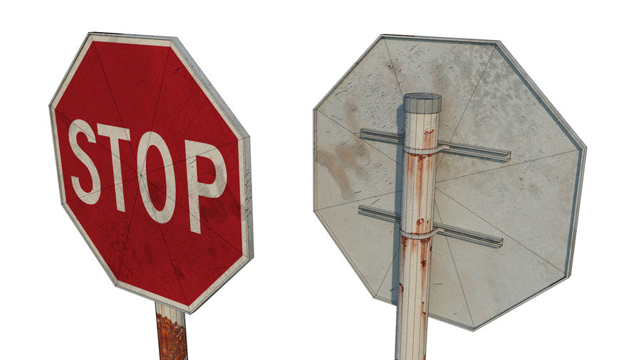 STOP sign royalty-free 3d model - Preview no. 4