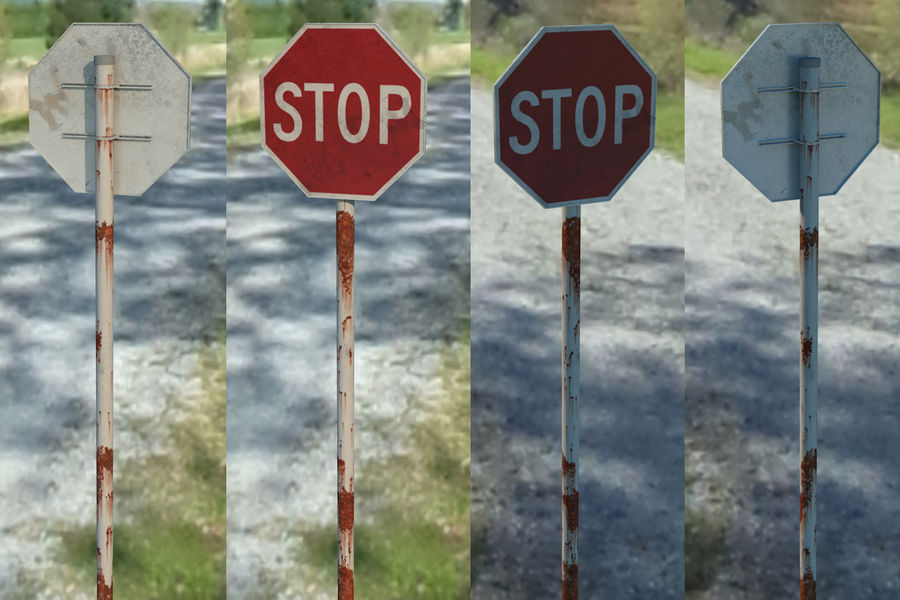 STOP sign royalty-free 3d model - Preview no. 1