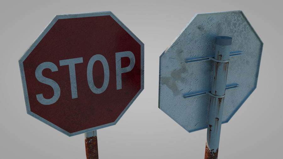 STOP sign royalty-free 3d model - Preview no. 2