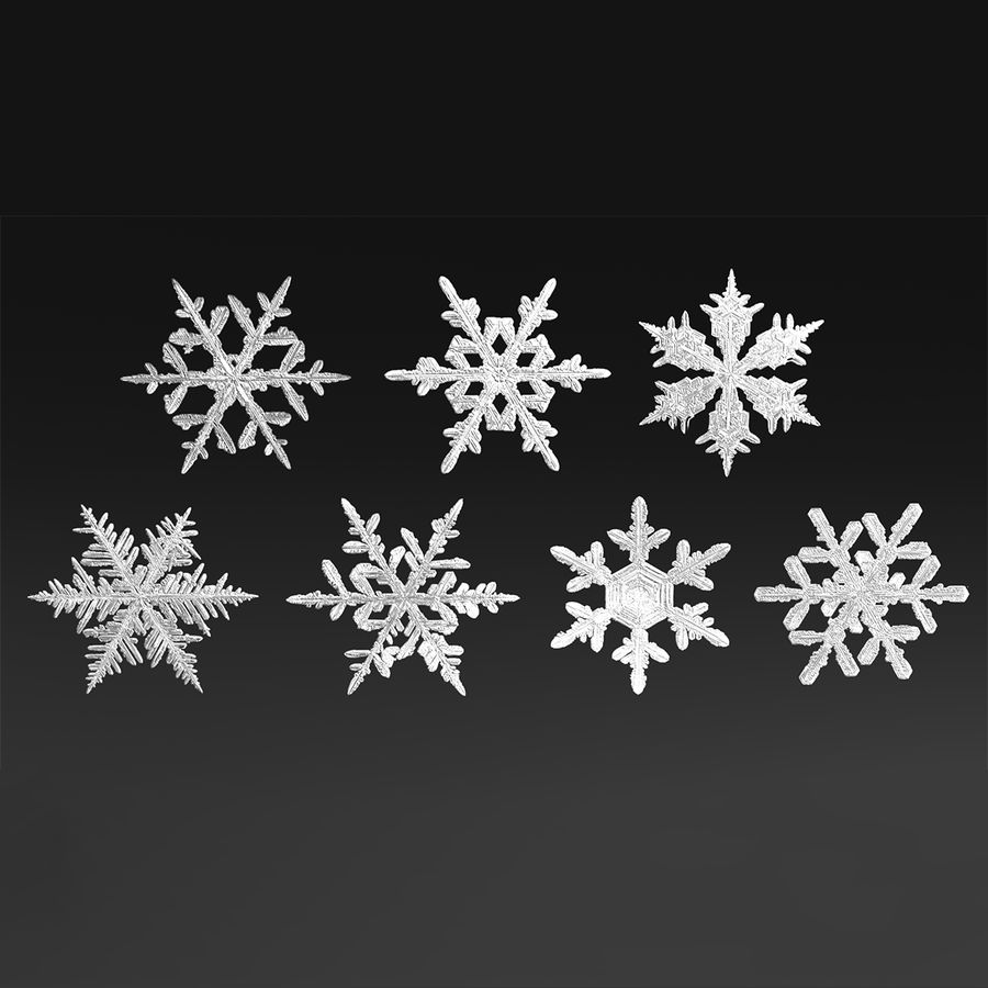 Snowflakes royalty-free 3d model - Preview no. 3