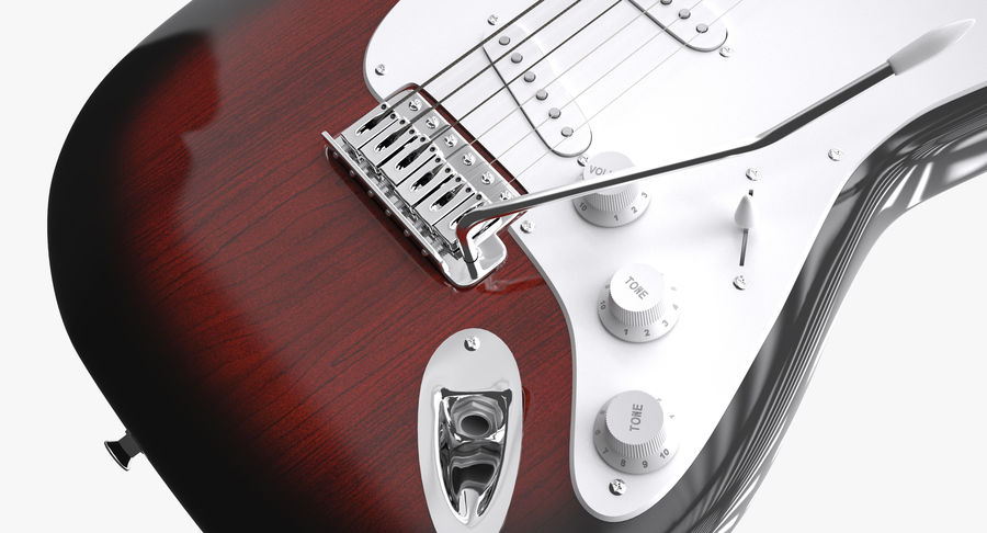 Squier Stratocaster Gitarre royalty-free 3d model - Preview no. 10