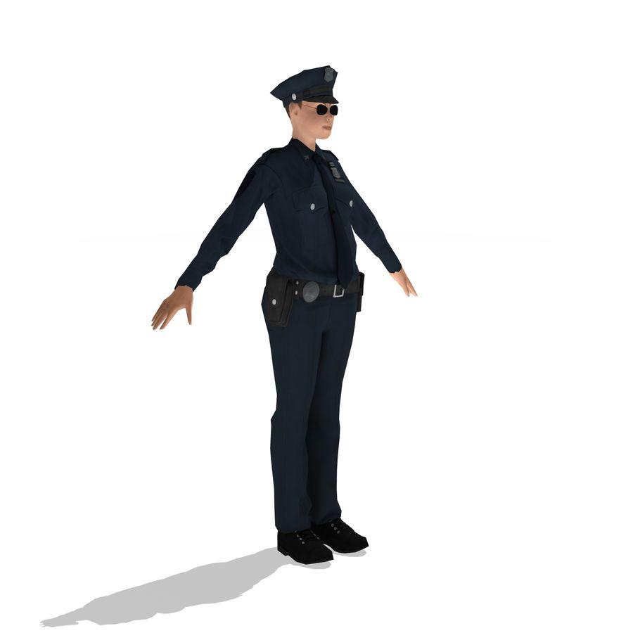 polis kvinna låg poly riggad royalty-free 3d model - Preview no. 5