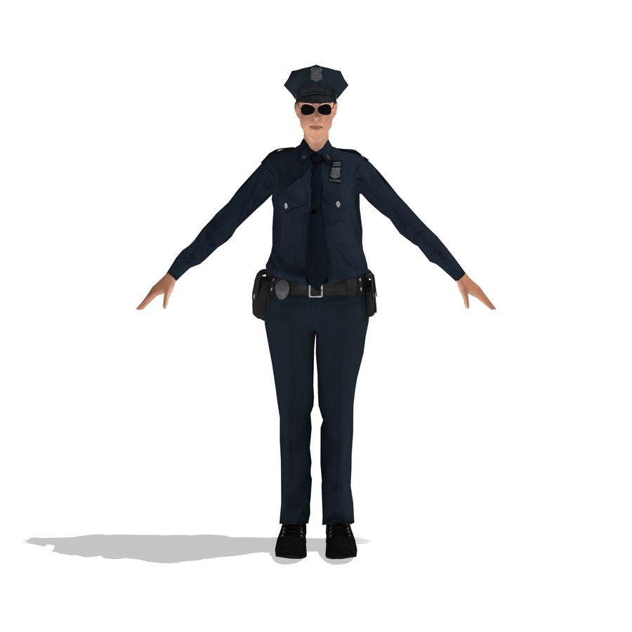 polis kvinna låg poly riggad royalty-free 3d model - Preview no. 2