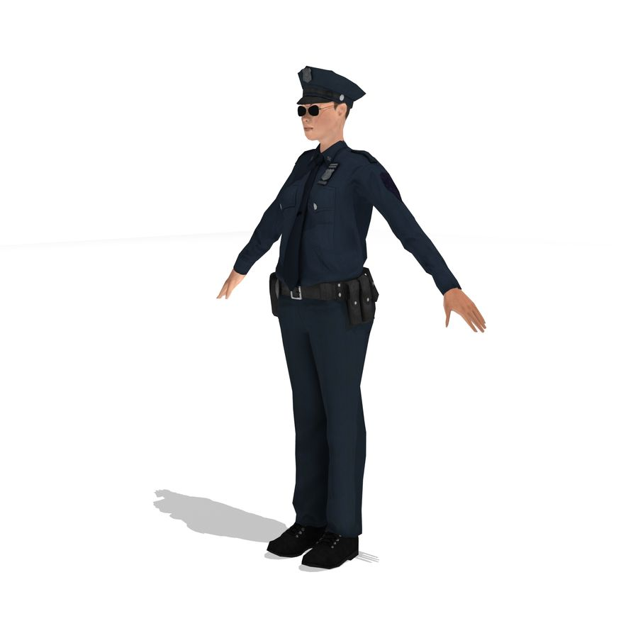 polis kvinna låg poly riggad royalty-free 3d model - Preview no. 1