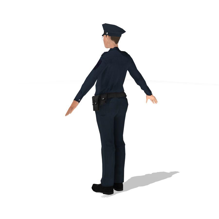 polis kvinna låg poly riggad royalty-free 3d model - Preview no. 3