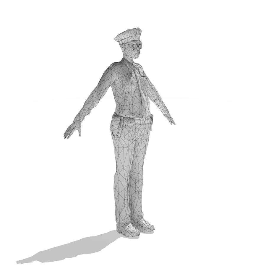 polis kvinna låg poly riggad royalty-free 3d model - Preview no. 6