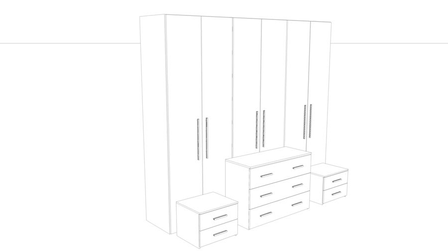 bedroom furniture royalty-free 3d model - Preview no. 5