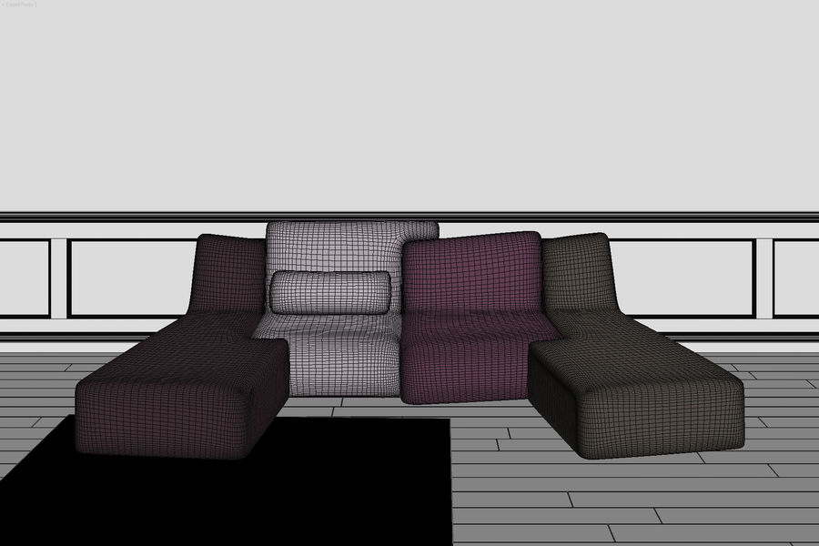 zbiegi ligne roset royalty-free 3d model - Preview no. 3