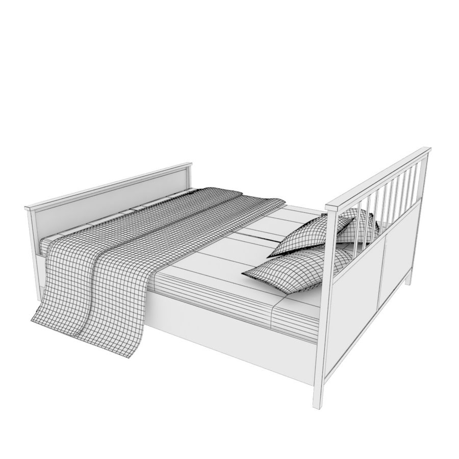 Ikea Hemnes bedframe royalty-free 3d model - Preview no. 5