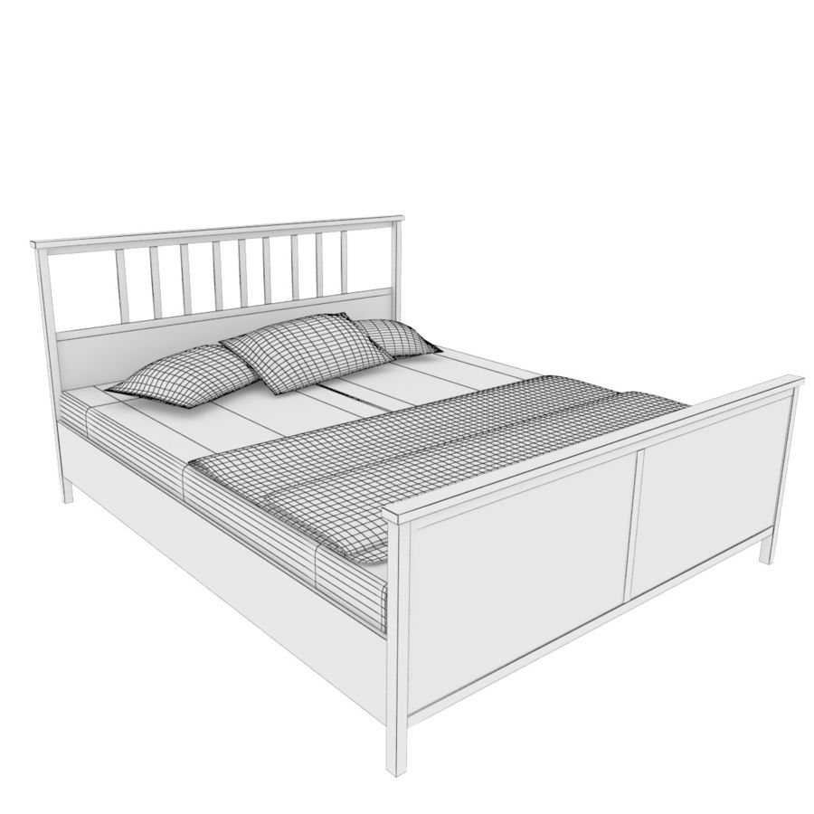 Ikea Hemnes bedframe royalty-free 3d model - Preview no. 4