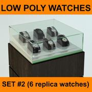 6 de alta qualidade Low Poly Replica Watches Collection Set # 2 pronto para uso em relógios ou joalheria 3d model