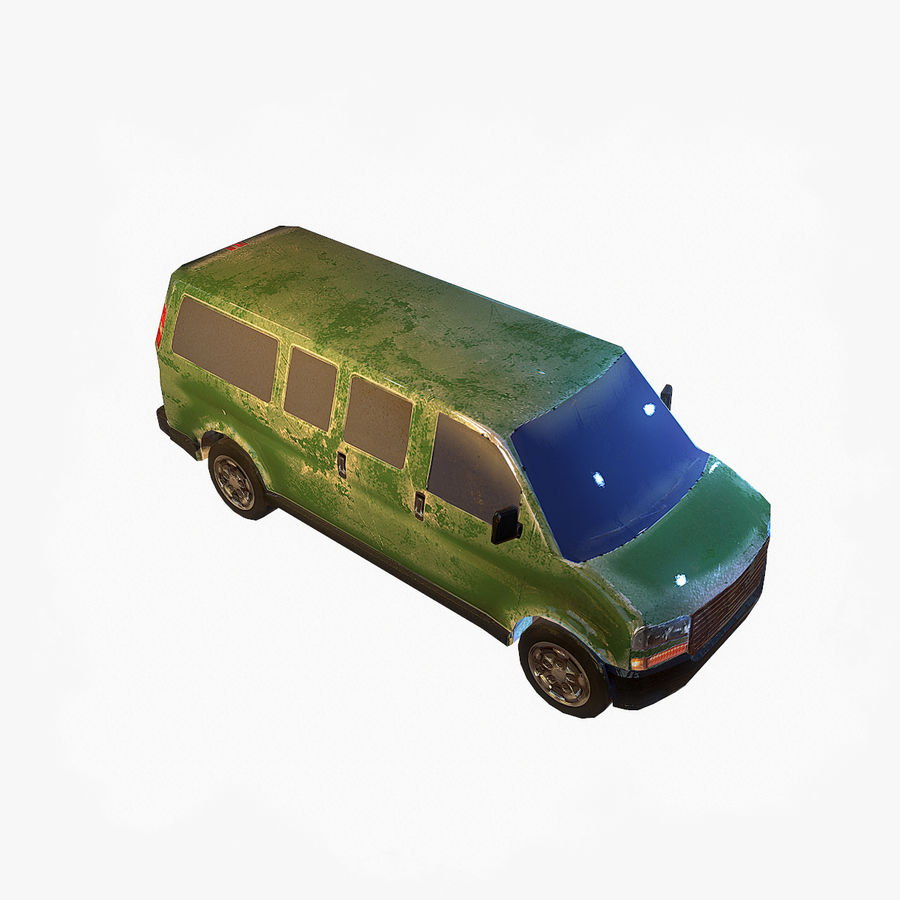 Old Car 2 (low poly) royalty-free 3d model - Preview no. 4