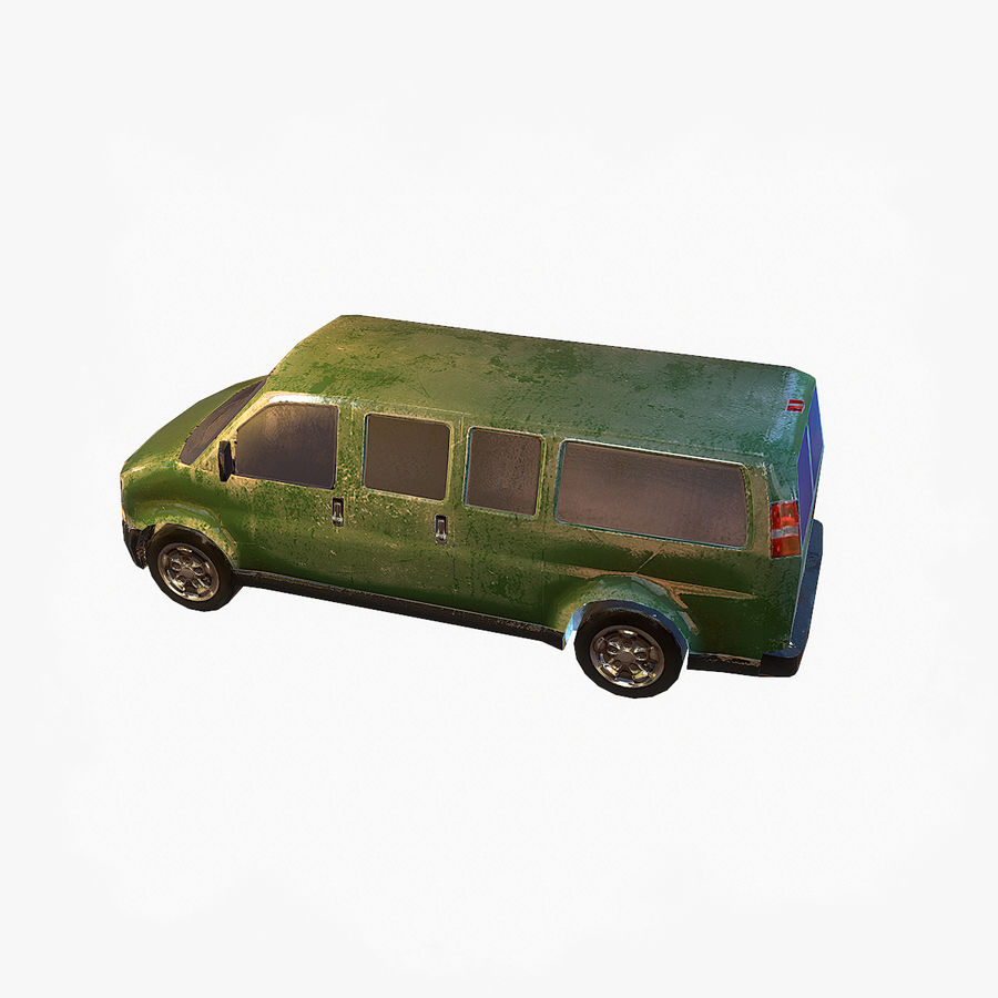 Old Car 2 (low poly) royalty-free 3d model - Preview no. 7