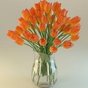 Tulips in a glass vase 3d model