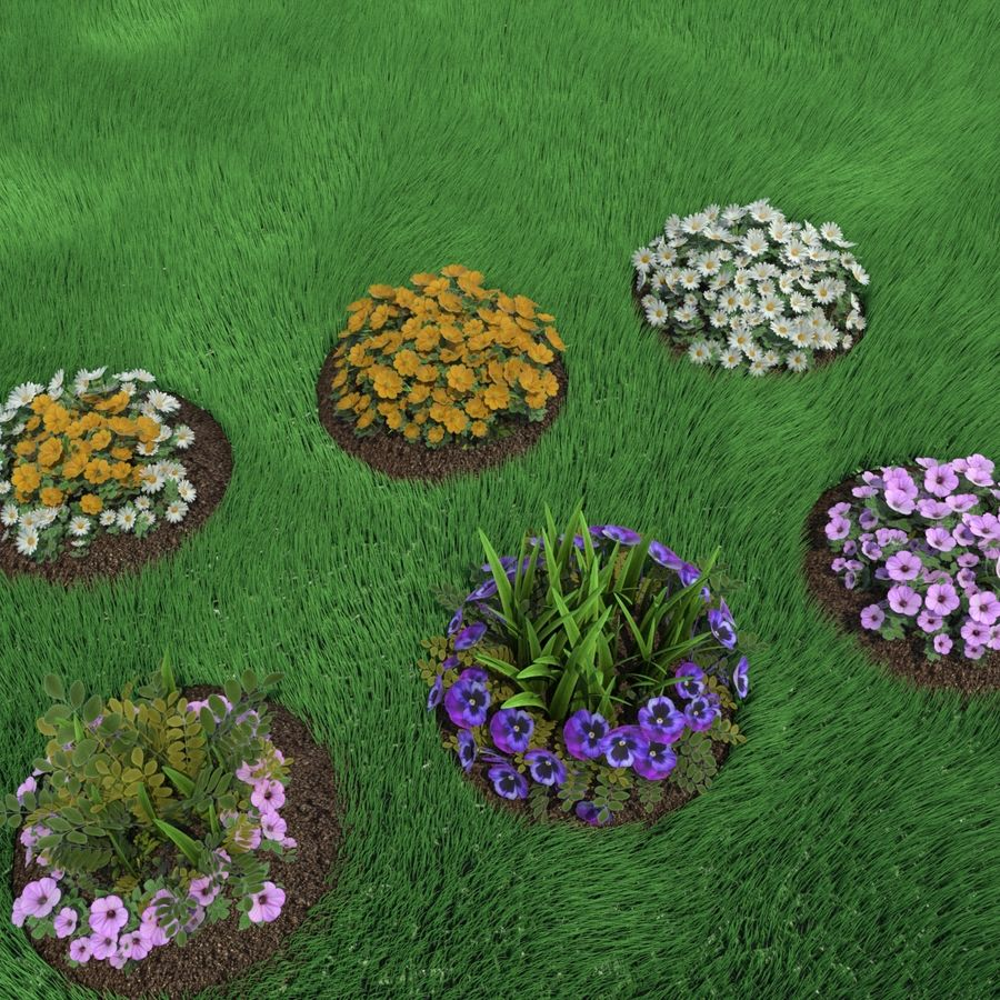 Flower Bushes royalty-free 3d model - Preview no. 2