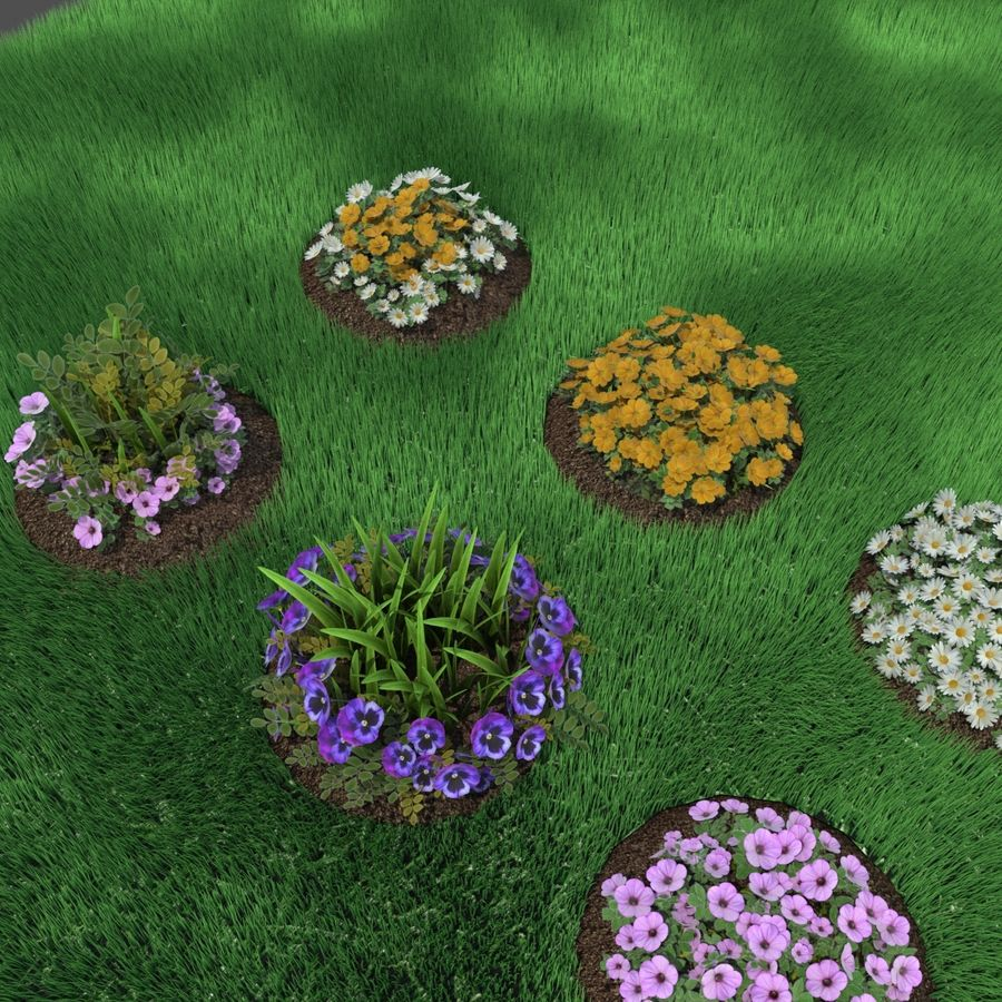 Flower Bushes royalty-free 3d model - Preview no. 3