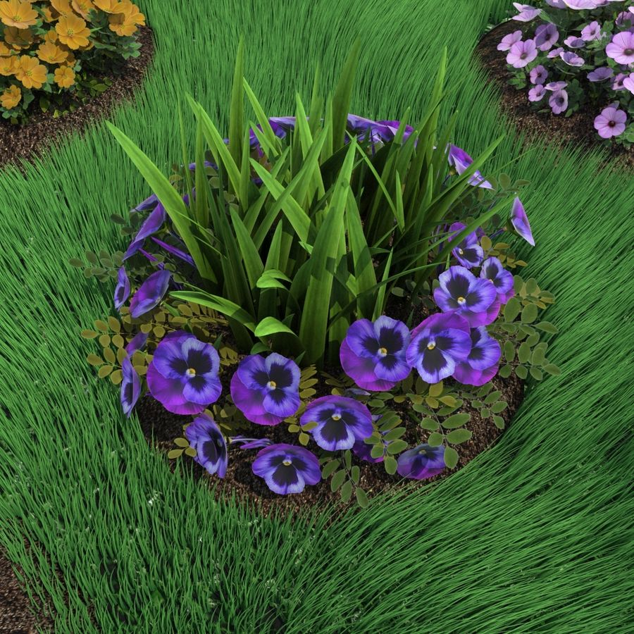 Flower Bushes royalty-free 3d model - Preview no. 5