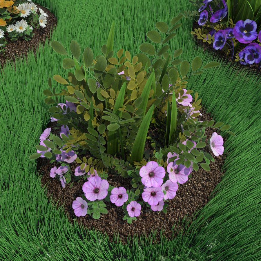 Flower Bushes royalty-free 3d model - Preview no. 4