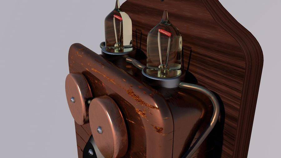 Steampunk Old Phone royalty-free 3d model - Preview no. 3