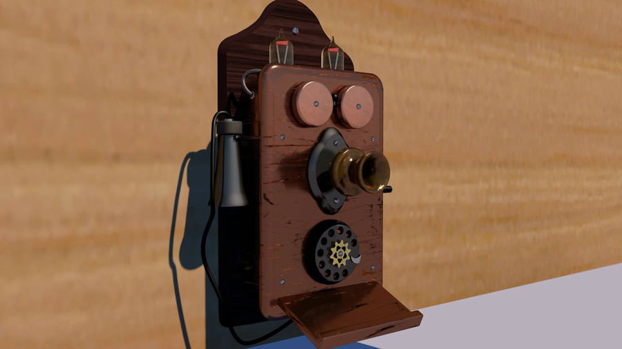 Steampunk Old Phone royalty-free 3d model - Preview no. 2
