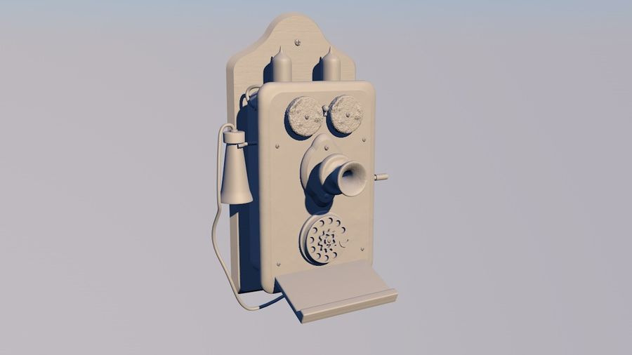 Steampunk Old Phone royalty-free 3d model - Preview no. 6