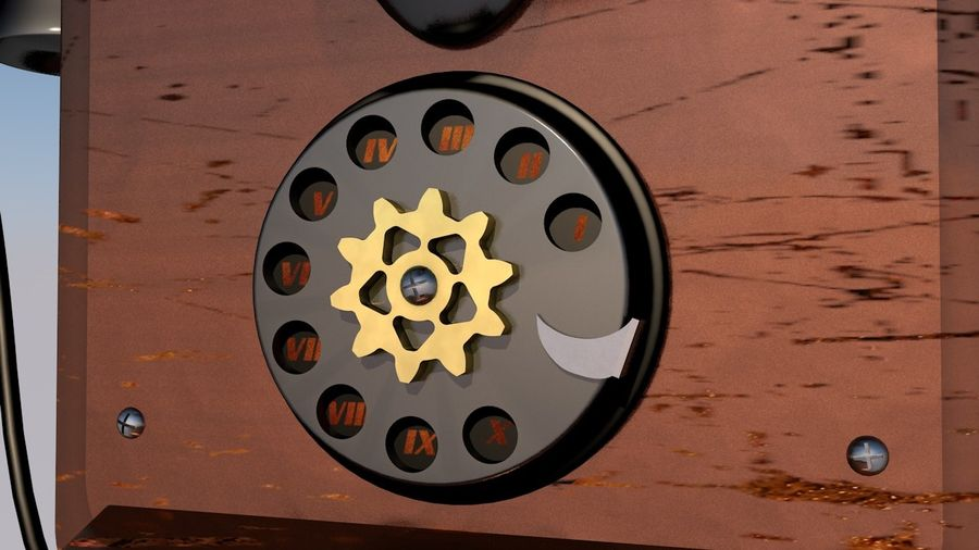 Steampunk Old Phone royalty-free 3d model - Preview no. 4