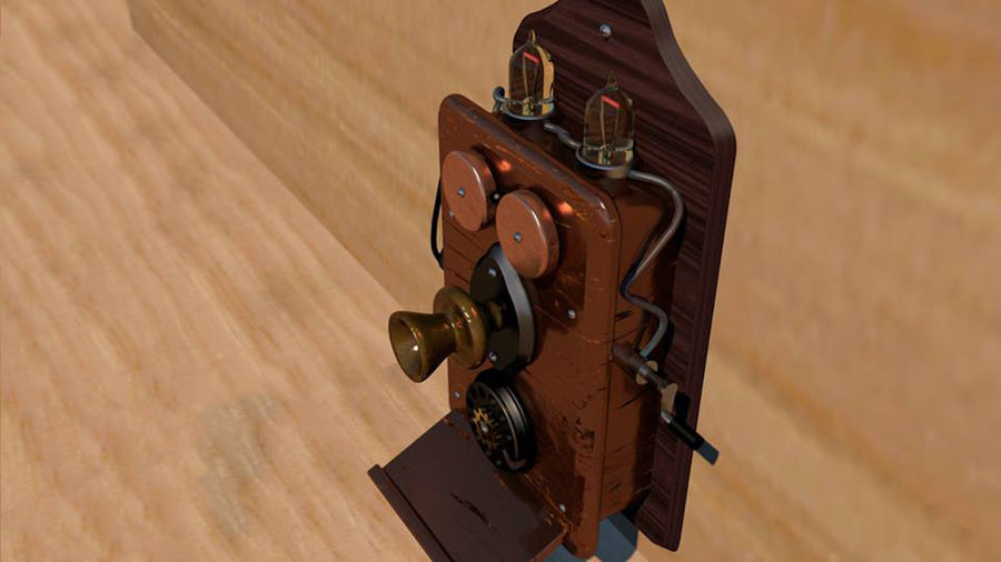 Steampunk Old Phone royalty-free 3d model - Preview no. 1
