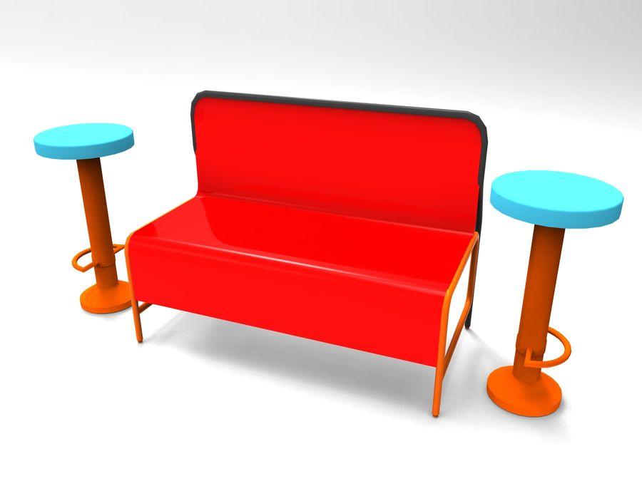 cadeira de tamborete royalty-free 3d model - Preview no. 1