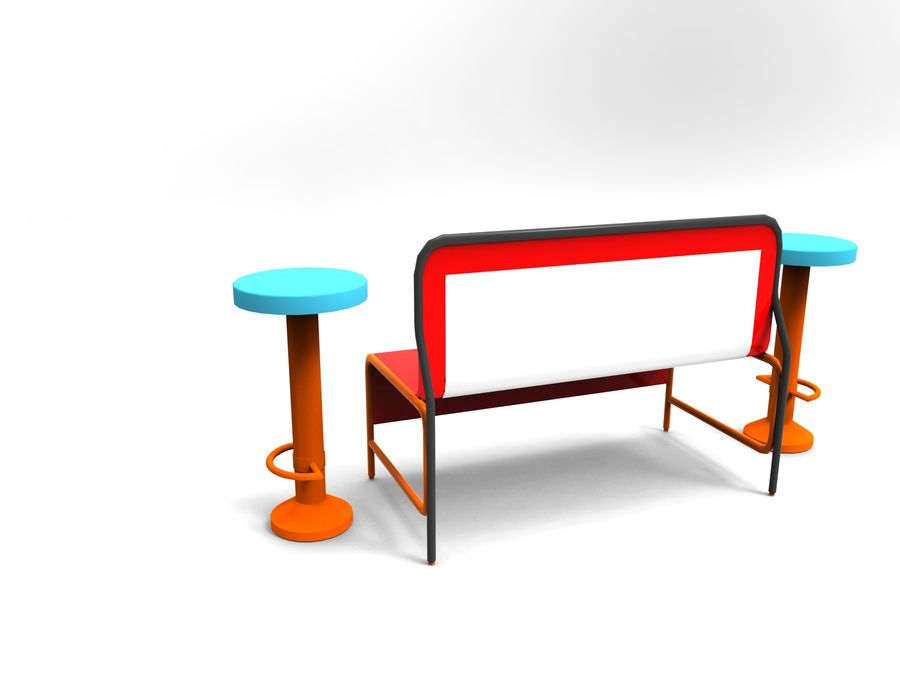 cadeira de tamborete royalty-free 3d model - Preview no. 3
