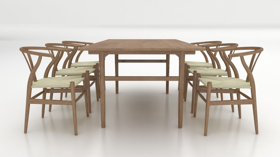 High Poly Dining Table Ch327 Of Carl Hansen Son With Wishbone Chair Ch24 Brown Wood 3d Model 14 Obj Fbx Dxf 3ds Max Unknown Free3d