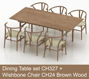 Mesa de comedor High Poly CH327 de Carl Hansen & Son con Wishbone Chair CH24 Brown Wood modelo 3d