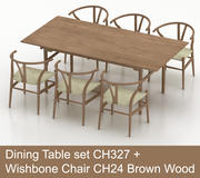 Hög poly matbord CH327 av Carl Hansen & Son med Wishbone Chair CH24 Brown Wood 3d model