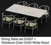 Mesa de comedor High Poly CH327 de Carl Hansen & Son con Wishbone Chair CH24 White Wood modelo 3d