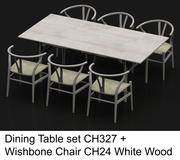 Hög poly matbord CH327 av Carl Hansen & Son med Wishbone Chair CH24 White Wood 3d model