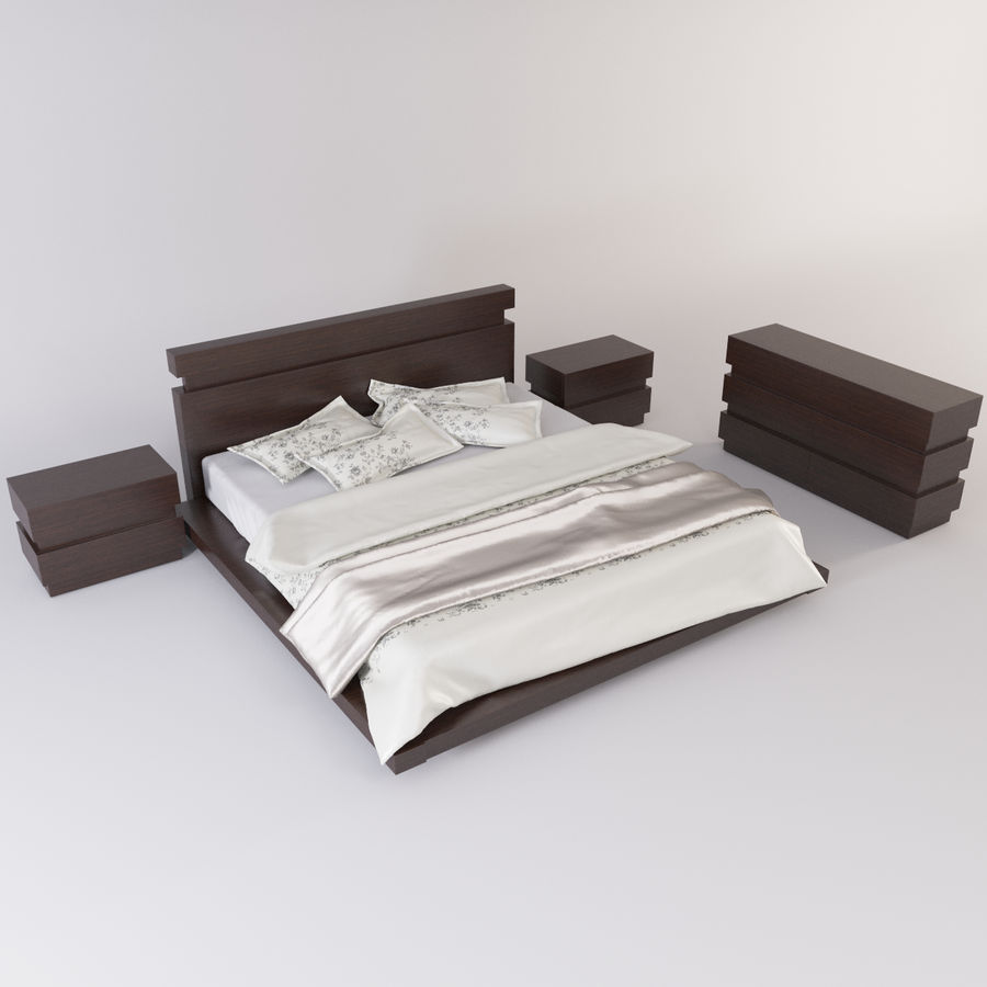 bed modern royalty-free 3d model - Preview no. 5
