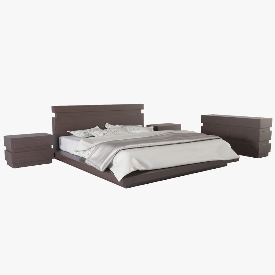 bed modern royalty-free 3d model - Preview no. 3