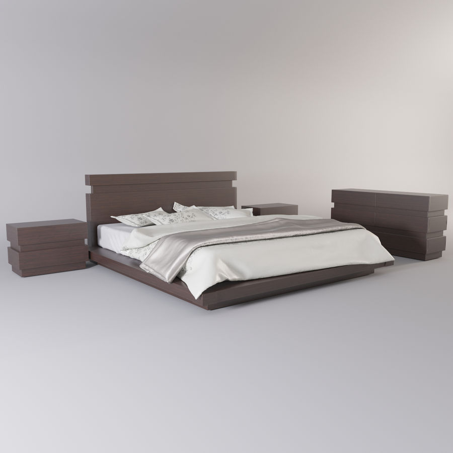 bed modern royalty-free 3d model - Preview no. 4