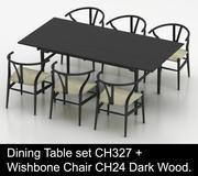 Juego de mesa de comedor High Poly CH327 de Carl Hansen & Son con Wishbone Chair CH24 Dark Wood modelo 3d