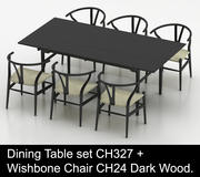 Juego de mesa de comedor High Poly CH327 de Carl Hansen & Son con Wishbone Chair CH24 Dark Wood modelo 3d