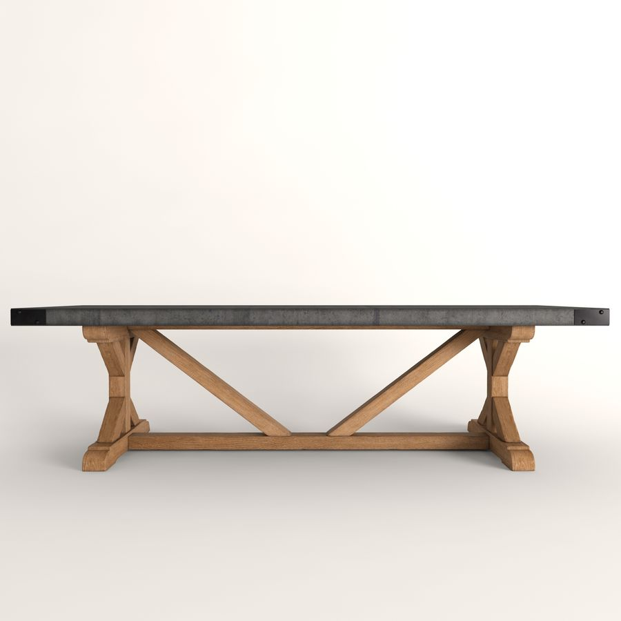 Salvaged Wood Concrete X Base Rectangular Dining Table 3d Model 18 Fbx Max Free3d