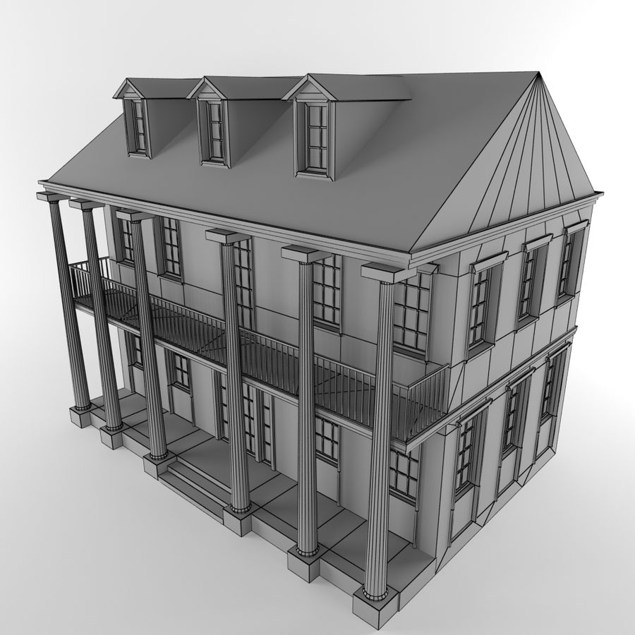Cottage House royalty-free 3d model - Preview no. 12